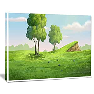 "设计艺术绿色花园,带 Mound and Trees 超大风景墙艺术印刷品 20x12"" PT11409-20-12"
