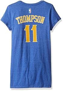 NBA 金州勇士队女式网格闪亮姓名盖袖 T 恤,M 码,黑色