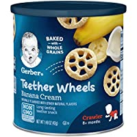 Gerber 嘉寶 Graduates車輪華夫餅干,香蕉奶油味,1.48盎司(42克)罐,6件裝