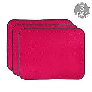 Jovilife COMINHKPR148308 qwr-0 餐具干燥厨房垫(3 件套)超细纤维吸水,1824 英寸,灰色 红色 6 * 10