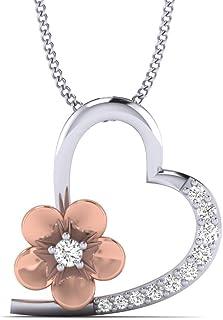 Fehu Jewel 1/10 克拉天然钻石镀金银色时尚心形吊坠项链