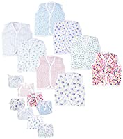 First Step New Born Baby gift pack Jhabla with Diaper (Multicolor, Pack of 16)(Size-L-12inchs,B-10inchs)