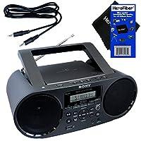 Sony 索尼 Bluetooth & NFC (近距离通信)MP3 CD/CD-R/RW 便携式 MEGA BASS 立体声扬声器,带数字收音机 AM/FM 调谐器和 USB 播放 + 辅助电缆和 HeroFiber 温和清洁布