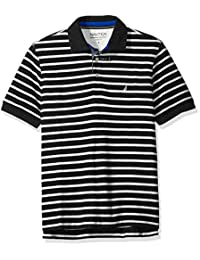 Nautica 男式经典修身短袖条纹 POLO 衫