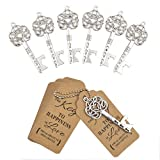 DerBlue 60 件钥匙开瓶器,复古骨架钥匙开瓶器,镂空钥匙开瓶器婚礼礼品古董乡村装饰,带心形牛皮纸标签卡 银-5 DERBLUE-9080