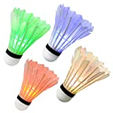 Ohuhu LED 羽毛球羽毛球,黑夜夜光鸟照明 适用于室外室内运动活动 4 件装