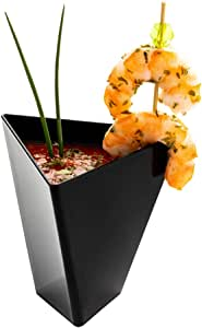 专业甜点杯,甜点塑料杯 - 耐用优质塑料 - 现代形状 - 黑色 - 3.5 盎司 - 2.9 英寸 x 2.6 英寸 x 2.8 英寸 - 100 个盒 - 餐厅设备
