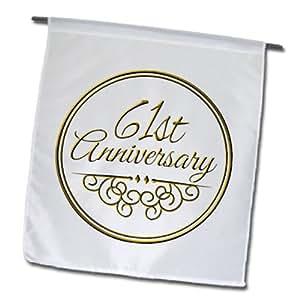 3dRose fl_154503_1 61 St 周年纪念礼物-金色文字庆祝结婚周年纪念日-61 岁已婚花园旗,30.48 x 45.72 厘米
