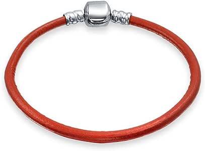Bling Jewelry 贝灵珠宝 红色皮革 925纯银 桶扣 手环手链 可搭配潘朵拉饰品