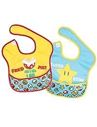 Bumkins Nintendo Waterproof SuperBib 2 Pack, Super Mario Expressions (Feed Me/Superstar) (6-24 Months)