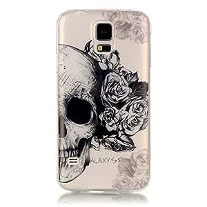 Galaxy S5 手机壳,Vfunn【粉色系列】超薄 TPU 凝胶防刮精美装饰透明保护壳适用于三星 Galaxy S5 骷髅头