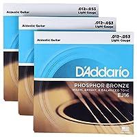Daddario 达达里奥 Phosphor Bronze EJ16 细款民谣吉他弦(3套)(亚马逊自营商品, 由供应商配送)