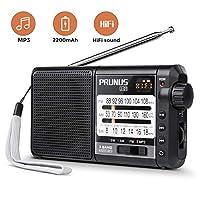 PRUNUS J-01 便携式 AM FM 短波收音机带*佳接收(360 ° 可旋转长天线),小型晶体管收音机,支持 Micro SD 卡 / TF 卡(MP3,WMA 格式),PRUNUS 出品