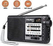 PRUNUS J-01 便攜式 AM FM 短波收音機帶*佳接收(360 ° 可旋轉長天線),小型晶體管收音機,支持 Micro SD 卡 / TF 卡(MP3,WMA 格式),PRUNUS 出品