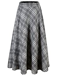 Vocni 女式喇叭格子 A 字冬季羊毛混纺中长裙