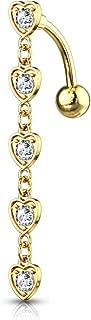 Amelia Fashion 14GA 5 水晶镶嵌中心心形吊坠脐环肚脐环 316L *钢材(选择颜色)