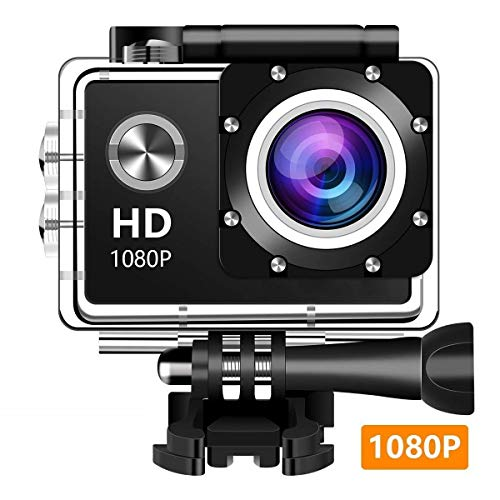 Wewdigi EV4000アクションカメラ、12MP 1080 P 2インチLCDスクリーン、防水モーションカム140度広角レンズ、30 mモーションカメラDVカメラ(2歳)