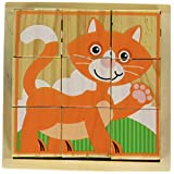 Melissa & Doug 我的*个木质动物方块拼图(9 片)托盘拼图