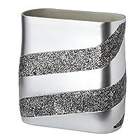 DWELLZA 银色马赛克浴室垃圾桶(27.94cm x 13.97cm x 27.94cm)装饰废纸篮 - 树脂废纸篮设计 - 适合空间的沐浴擦垃圾桶(银灰色)