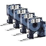 """Label KINGDOM 4 Pack Replace DYMO D1 45013 S0720530 Labeling Tape 12mm Black on White Compatible for Dymo LabelManager 160, LabelManager 210D, LabelManager 260P, LabelManager 450D Printer, 1/2"""" x 23'"""