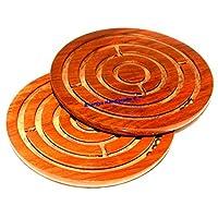 圆形迷宫迷宫棋盘游戏木制玩具*先锋拼图游戏 - 送给孩子和成人布哈蒂亚手工艺品的礼物 Rosewood Brown 5 Inch BHGU001