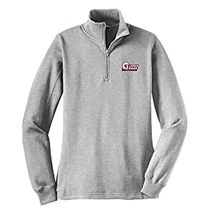 Campus Merchandise NCAA Arkansas Little Rock Trojans 女式 1/4 拉链套头衫,S 码,运动麻灰色