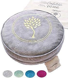 MV Joie Zafu 瑜伽冥想靠垫填充荞麦壳和木炭包| 瑜伽枕,柔软天鹅绒/绒面革;刺绣设计,免费薰衣草袋和防尘棉袋