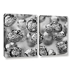 "ArtWall Scott Campbell's Black And White Bubbles 2 Piece Gallery Wrapped Canvas Set, 18"" x 28"""