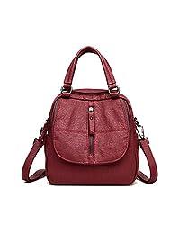 ELIMPAUL 女式背包水洗皮革女士帆布背包斜挎单肩包钱包手提包带小钱包