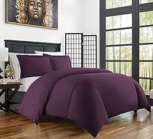 Zen Home 奢华羽绒被套装 - 1500 系列拉绒超细纤维与竹子混纺被套套装 - 环保,低*和抗皱 - 3 件套 紫色 King/Cal King BMBDVTCVR-KCK-PRP