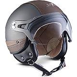 SOXON SP-325-URBAN Jet-Helmet Bobber Mofa 摩托头盔复古 Vespa-Helmet 复古切碎机飞行员摩托车头盔巡逻车,ECE 认证,皮革设计,包括 遮阳板,包括 布袋 XL (61-62cm) SP 325