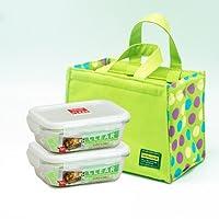 乐扣乐扣(lock&lock)耐热玻璃保鲜盒 微波炉饭盒 便当盒餐盒 餐具两件套LLG424S902(430ml*2)加绿色便当包