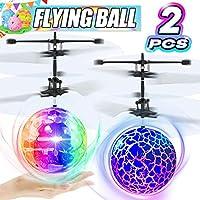 2 件裝 RC 飛球發光飛行玩具男孩女孩生日禮物,迷你無人機手法、帶 2 個遙控四軸飛行器發光球玩具室內戶外多人游戲
