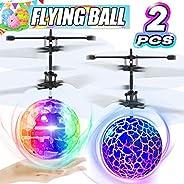 2 件装 RC 飞球发光飞行玩具男孩女孩生日礼物,迷你无人机手法、带 2 个遥控四轴飞行器发光球玩具室内户外多人游戏