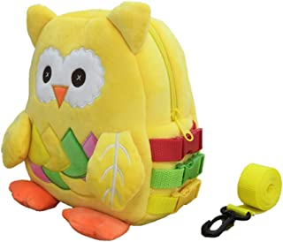 毛绒猫头鹰幼儿背包带皮带和搭扣,适合 1-5 岁女童和男童