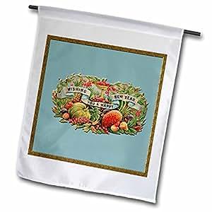 BLN 复古圣诞插图复制品–许愿 YOU A 新年快乐维多利亚水果和横幅–旗帜 12 x 18 inch Garden Flag