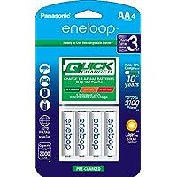Panasonic 松下高级 eneloop 爱乐普电池 3 小时快速充电器,带有 4 个 eneloop 爱乐普充电电池,白色