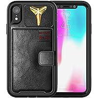 iPhone XR *新款高级 3D Kobe PU 皮革混合钱包手机壳(双层防震防跌落) 黑金