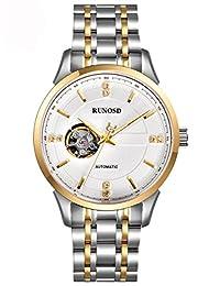 RUNOSD 斯诺威登 瑞士品牌 全自动机械表手表 小镂空时尚男士手表 皓鸿系列商务50米防水夜光钢带男表 8195G钢带介金白面