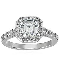 Platinum Plated Sterling Silver Swarovski Zirconia 1.5cttw Asher Center Halo Engagement Ring