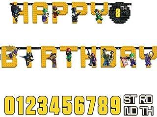 DC 漫画 LEGO 蝙蝠侠生日快乐附加字母横幅,3.2 M X 25 厘米