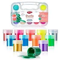 DACO 儿童颜料套装,12 种颜色 0.7 液体盎司(20 毫升),带旅行和存储盒,可水洗颜料艺术套装,适用于初学者、儿童、学校油漆用品、手指油漆 Metallic and Neon Gouache CU221A