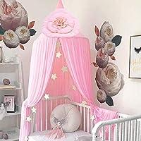 公主床罩 儿童婴儿床 花朵 圆顶 床帐篷 儿童 室内 户外 玩耍 棉质 挂帐篷 房子装饰 粉红色