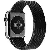 美国JETech 苹果表带 Apple Watch 42mm 米兰尼斯表带 回环表带 iWatch手表表带 金属不锈钢腕带 磁力吸附扣功能 吸附扣精致圆弧设计,适用于Apple Watch 1代和Apple Watch 2代 (黑色) - 2108