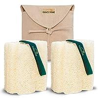FANCY PINE 丝瓜海绵两件套用于去角质肌肤 - * **淋浴丝巾 - 优质奢华埃及身体 Loufa 海绵 适用于*矿物 - 身体泡泡磨砂膏