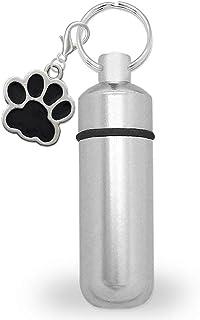 PhotojewelryMaking 宠物狗猫迷你灰盒持有人骨灰盒骨灰盒纪念胶囊钥匙链带爪印坠饰