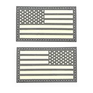 8.89 厘米 x 5.08 厘米反光美国国旗在黑暗中发光的贴片钩和环紧固件背衬 1 left+1 right bt004