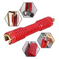 (8 合 1)水龙头和水槽安装工具,双头管道工具,多功能水龙头扳手工具,水管扳手工具,水管手家庭用(热情红)