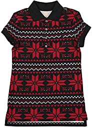 Polo Ralph Lauren 女童(7-16) 圣诞雪花图片连衣裙 红色/黑色 Medium