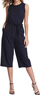 Dilgul 女式连身衣无袖背心肩带腰部系带宽腿优雅